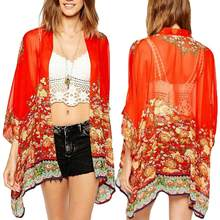 Frauen Floral Chiffon 3/4 Hülse Vorne Offen Vertuschung Sheer Bluse Anti-Uv Strickjacke ropa verano mujer playa pareo sexy(China)