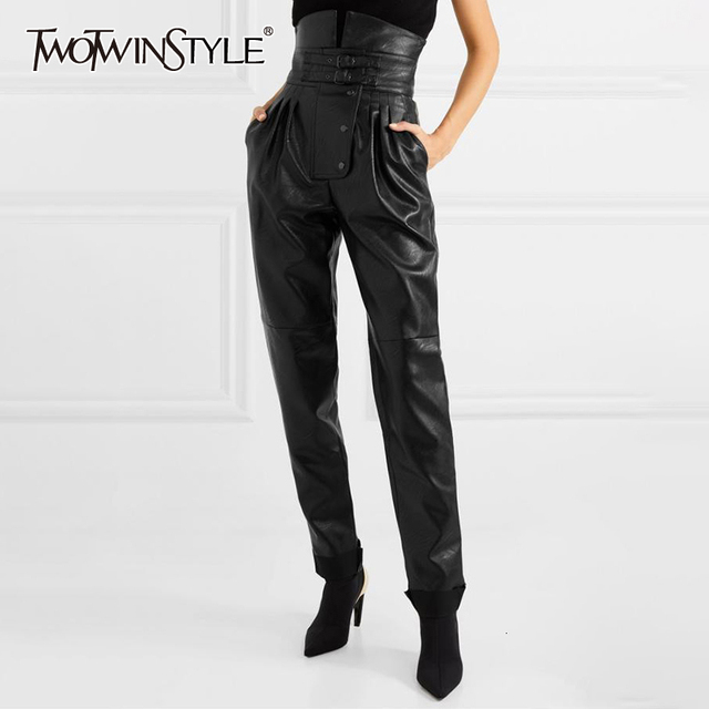 TWOTWINSTYLE PU Leather High Street Style Womens Pants High Waist Ruched Asymmetrical Trousers Female Fashion Clothing 2020 New