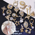 2pcs Luxury Zircon 3D Nail Art Decorations Shiny Pearl Diamonds Crystal Alloy Pendant Jewelry Manicure Design Accessories