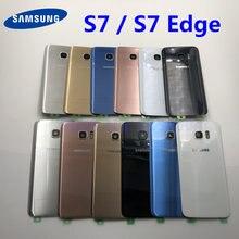 Do Samsung Galaxy S7 Edge G935 S7 G930 tylna pokrywa baterii pokrywa zamiennik drzwi naprawa części + ucho szkiełko aparatu rama obiektywu