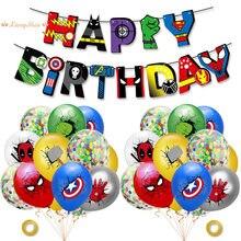 Liga da justiça super herói tema confetes balão banner conjunto látex balões crianças festa de aniversário decoração do chuveiro do bebê balões