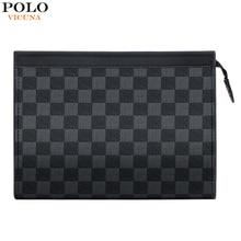 VICUNA POLO Famous Brand Mens Envelope Clutch Handbag Classic Plaid Design Clutch Wallet For Man Business Man Bag For iPad