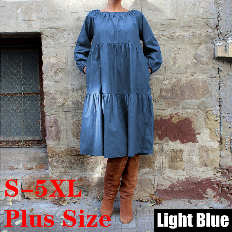 Plus Size Denim Dress 2019 Bohemian Women Autumn Long Lantern Sleeve Knee-Length Dress Casual Vestido Off Shoulder Sundress