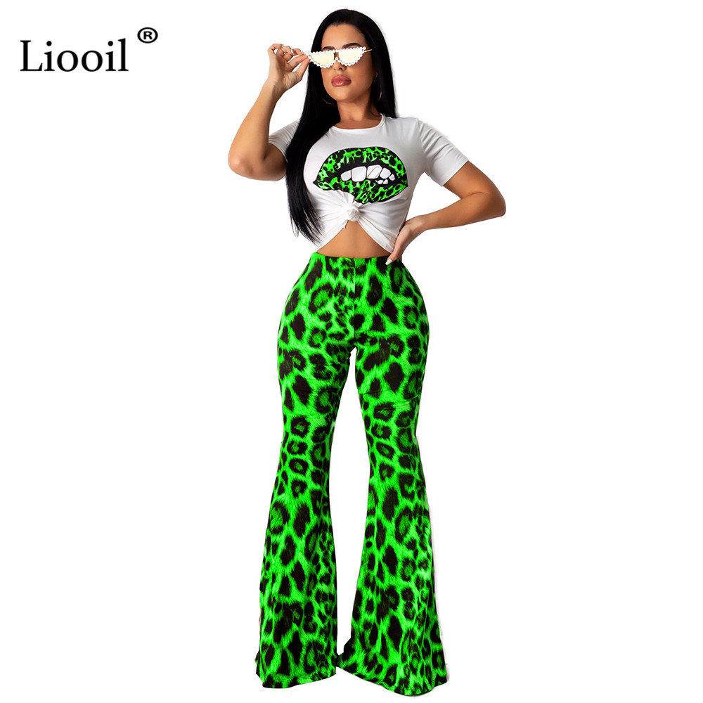 Liooil Neon Green <font><b>2</b></font> <font><b>Piece</b></font> Set <font><b>Sexy</b></font> Club <font><b>Outfits</b></font> Lip Print T Shirt Top Leopard Wide Leg <font><b>Pants</b></font> Suits <font><b>For</b></font> <font><b>Women</b></font> Party Matching Sets image