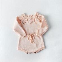 Модный Вязаный комбинезон для новорожденных Одежда для маленьких мальчиков и девочек теплый свитер с длинными рукавами осеннее платье-шорты с длинными рукавами и воланами для малышей