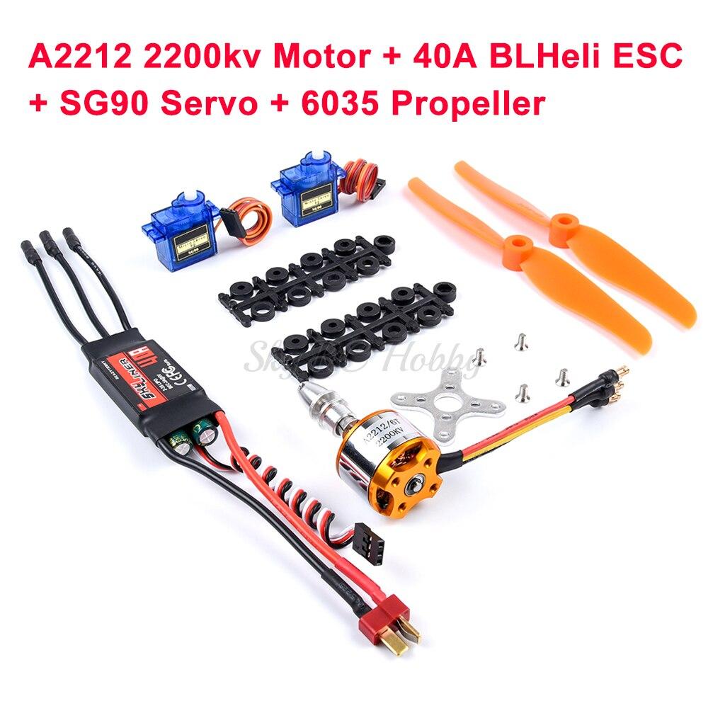 A2212 2212 1000KV 1400KV 2200KV Brushless Motor + Skylinker 30A 40A BLheli ESC + SG90 Servo For RC Fixed Wing Plane Helicopter