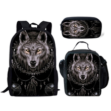 NOISYDESIGNS 3D Animal Wolf Printing School Bags Kids 3pcs/set Schoolbag Backpack Student Primary Book Boys Cool Satchel