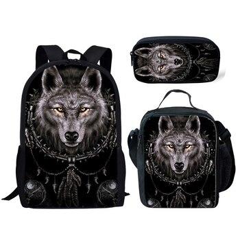 NOISYDESIGNS 3D Animal Wolf Printing School Bags Kids 3pcs/set Schoolbag Backpack Student Primary Book Bags Boys Cool Satchel noisydesigns school bags 3pc set children s backpack balls 3d printing school satchel for boys teenagers schoolbag students 2018