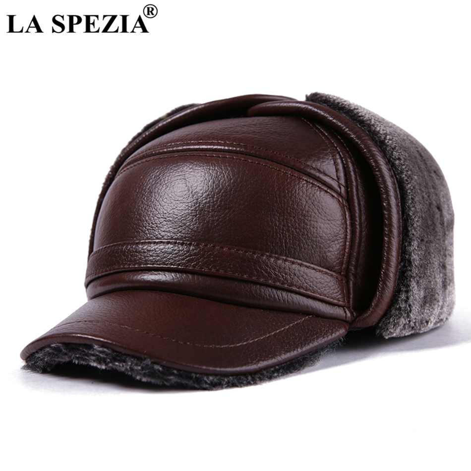 LA SPEZIA Winter Bomber Hat Men Russian Brown Leather Ushanka Cap With Ear Flaps Fur Warm Genuine Cow Leather Brand Baseball Cap