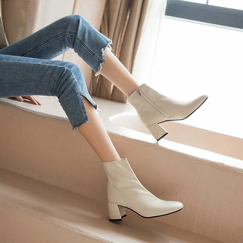 Image 3 - Krazing Pot classic basic solid genuine leather fashion simple  boots round toe high heels winter keep warm women ankle boots L05Ankle  Boots