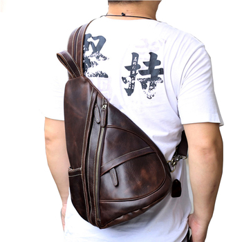 Vintage Genuine Leather Chest Bag Men Crazy Horse Messenger Bag Male Coffee Functional Back pack Bag Men's Crossbody Bag