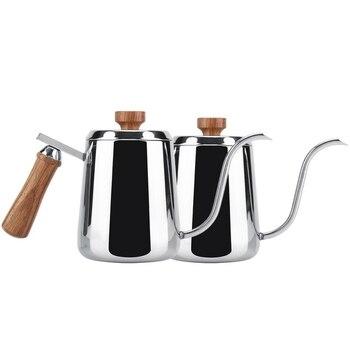 ABUI-Stainless Steel Wooden Handle Drip Coffee Pot Long Gooseneck Spout Kettle Moka Coffee Tea Pot 2