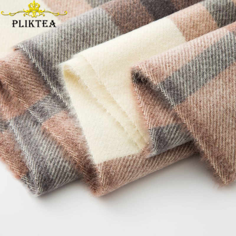 PLIKTEA Merino Wool Scarf for Women Thick Warm Poncho Plaid Female Hijab Scarf Lady Fashionable Shawl Warm Pashmina Female Stole