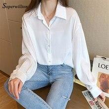ルース女性ブラウス韓国スタイルの時装女性トップスボタンアップカジュアル特大長袖シャツプラスサイズblusas