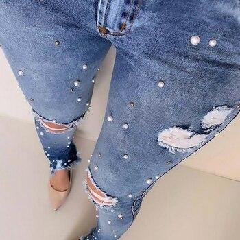 Plus Size Women Pencil Skinny Pants Jeans Denim Blue Ladies Long Pants Trousers Jeans Fake Pearl High Waist Female Jeans D30 цена 2017