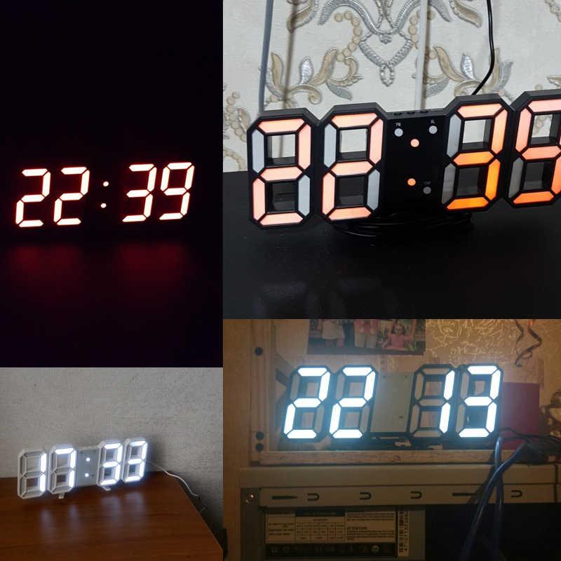Reloj de pared LED 3D moderno reloj de pared Digital de mesa de Control de sonido despertador de escritorio temperatura luz nocturna Reloj de pared Saat para decoración del hogar