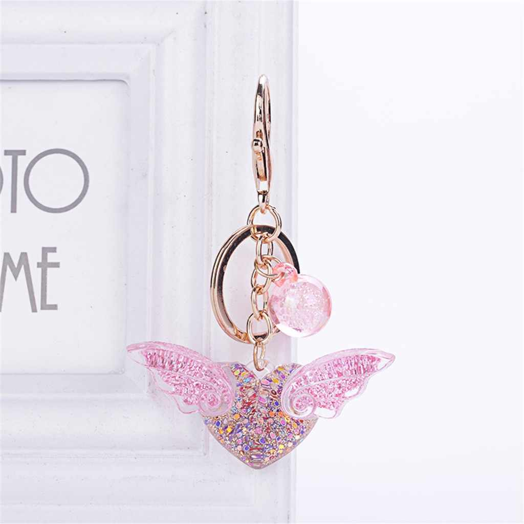Romantic Cute Sequin Angel Wing Heart Keychain Pendant Key Ring Women Acrylic Ring Holder Female Key Chains Bag Jewelry Gifts