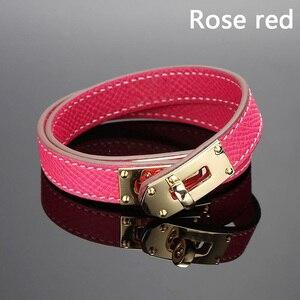 Image 2 - Quente marca de aço inoxidável dupla camada pulseira azul amarelo vermelho verde cor real couro do couro pulseiras para as mulheres (dj1312)