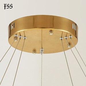 Image 5 - FSS الحديثة دائرة مستديرة أضواء الثريا الثريات الذهب دائري الهندسة الإبداعية مصباح Led أضواء تركيبات إضاءة داخلية