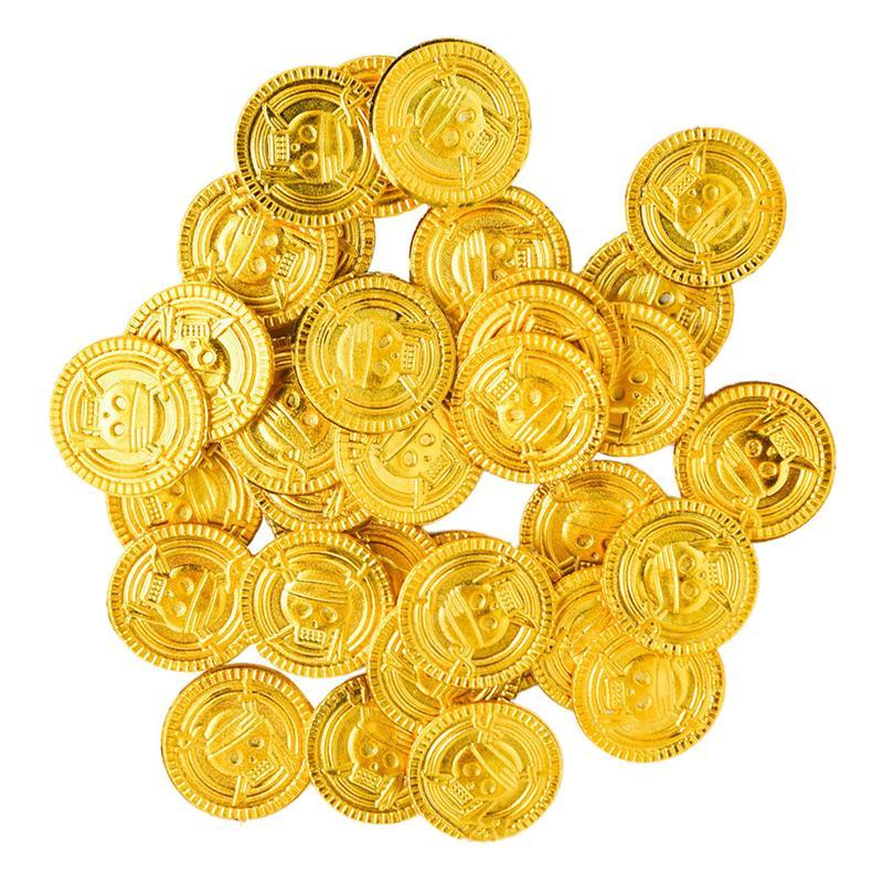 100 шт., пластиковые золотые монеты для детской вечеривечерние
