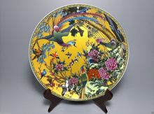 Hermoso chino de madera para carpintería, placa de mano con pintura de peonía hibisco