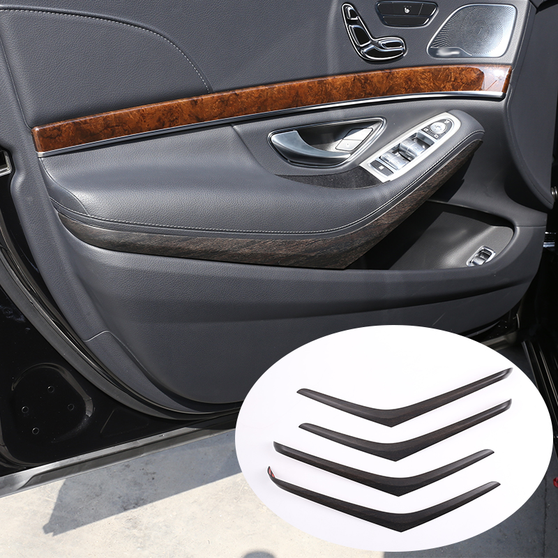 4 Pcs For Mercedes benz W222 S Class S320 2014-2017 Car ABS Oak Wood Grain Interior Door Decoration Strips Trim