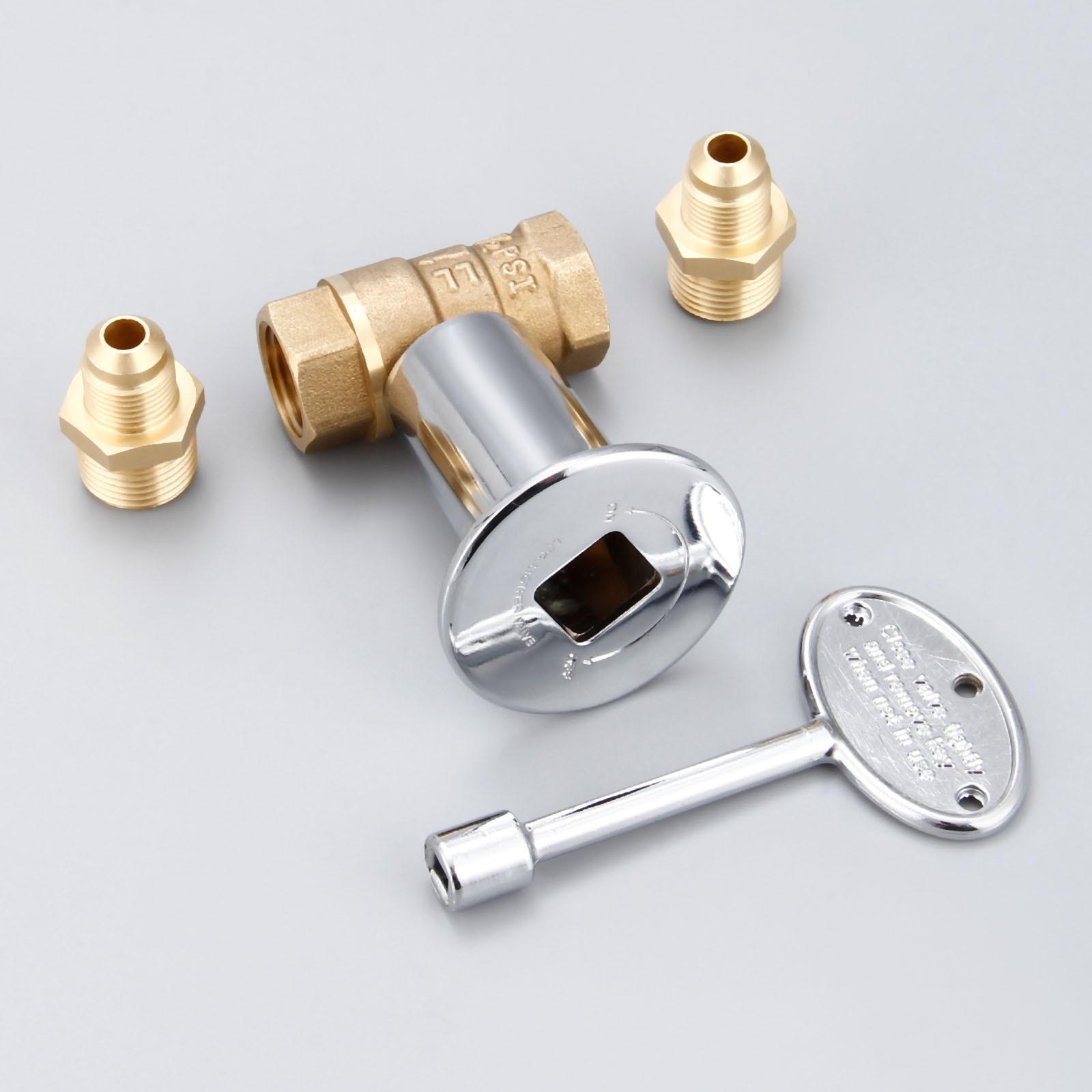1/2Inch Straight Quarter Turn Shut-Off Valve Kit NG LP Gas Fire Pits Chrome Flange Key Valve 3/8