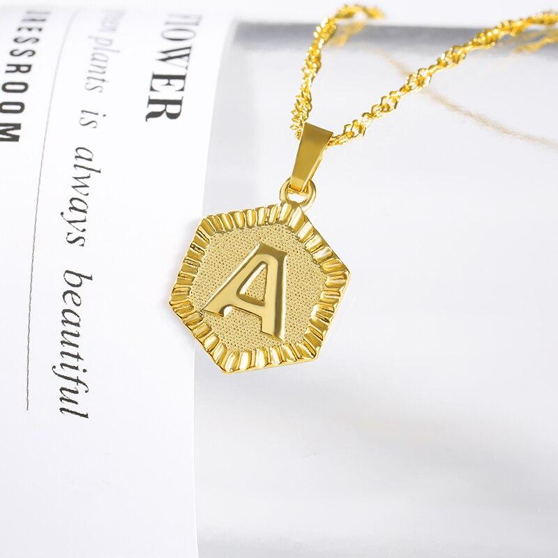 A-Z Unisex de Plata de Acero Inoxidable Colgante Cadena Collar Inicial letra del alfabeto
