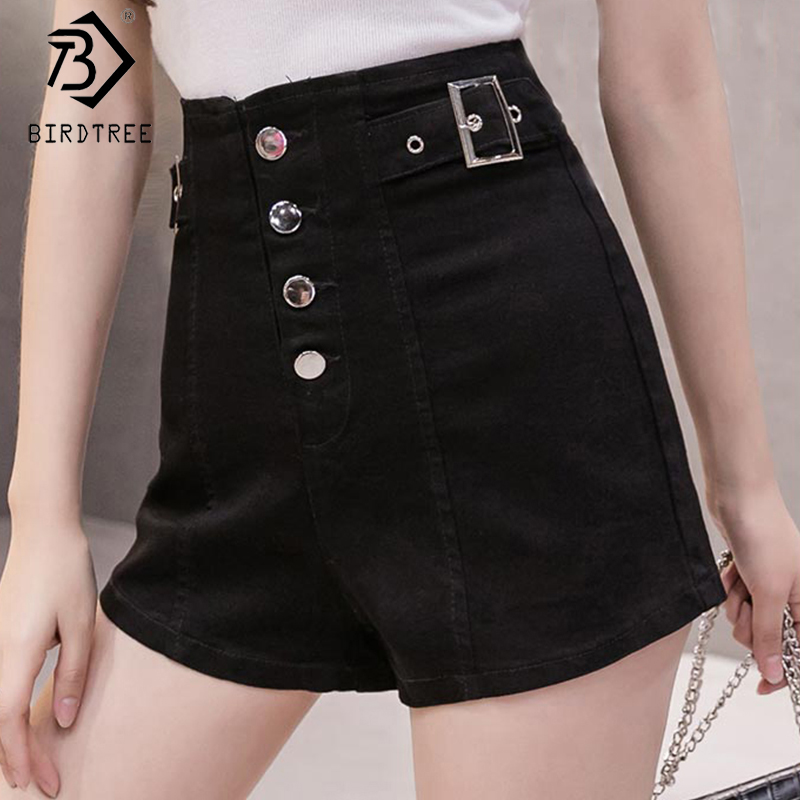 2020 Spring And Summer New Women's Casual Denim Button Fly Shorts High Waist Slim Straight Shorts Female Bottoms B9D002O