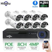 Hiseeu H.265 8CH 4MP POE камера безопасности Система комплект аудио запись ip-камера ИК Открытый водонепроницаемый CCTV видеонаблюдение NVR комплект