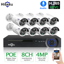 Hiseeu H.265 8CH 4MP POE אבטחת מצלמה מערכת ערכת אודיו שיא IP מצלמה IR חיצוני עמיד למים CCTV וידאו מעקב NVR סט