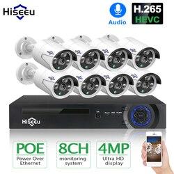 Hiseeu H.265 8CH 4MP POE Kamera Keamanan Sistem Kit Merekam Audio Ip Kamera IR Luar Ruangan Tahan Air CCTV Pengawasan Video NVR set