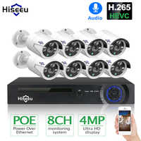Hiseeu H.265 8CH 4MP POE Sicherheit Kamera System Kit Audio Record IP Kamera IR Im Freien Wasserdichte CCTV Video Überwachung NVR set