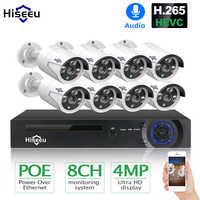 Hiseeu H.265 8CH 4MP POE kamera ochrony zestaw do organizacji nagrywania dźwięku kamera IP IR odkryty wodoodporny nadzór wideo CCTV NVR zestaw