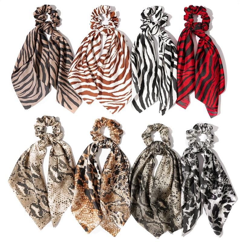 Fashion Snake Zebra Striped Print Bow Streamers Scrunchies Women Hair Scarf Elastic Hair Bands Rope Ties Girls Hair Accessories