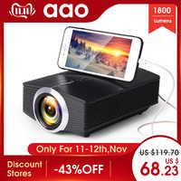 AAO YG500 Upgrade YG510 Mini Projektor 1080 P 1800 Lumen Tragbare LCD LED Projektor Heimkino USB HDMI 3D Beamer bass Lautsprecher