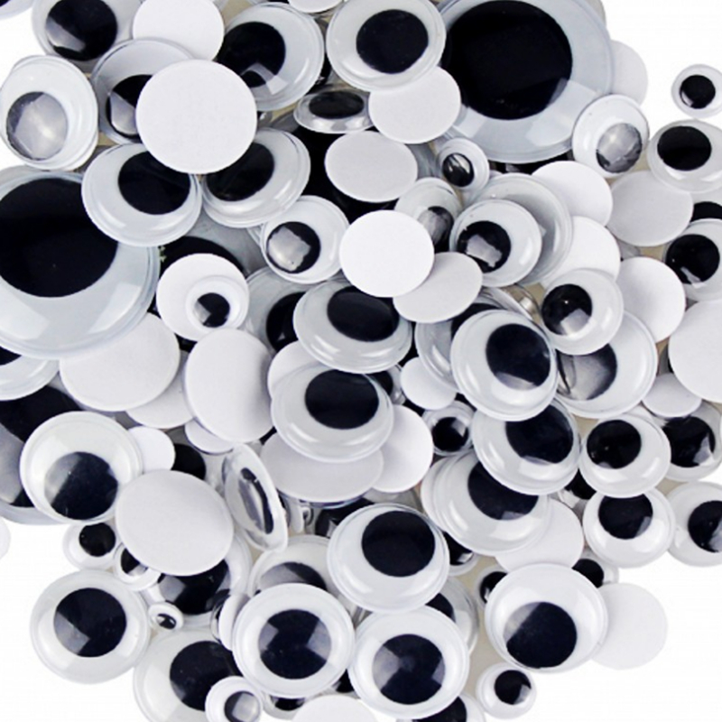 500pcs/lot Googly Eyes Stems Pompom Mixed Self-adhesive Eyes Glue On DIY For Toys Dolls Wiggly Eyeballs Scrapbooking Accessor