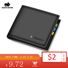 BISON DENIM 100% Cow Leather Wallet Men Fashion Bifold Card Holder Wallet RFID Blocking Male Short Purse High Quality N4475