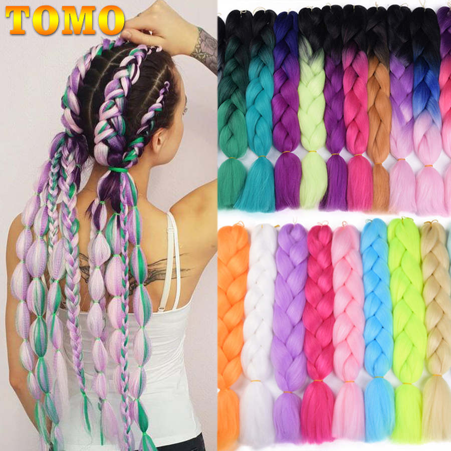 TOMO Ombre Jumbo Braids Synthetic Hair 24'' 100g African Xpression Braiding Hair Extensions Rainbow Crochet Hair Extensions