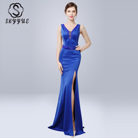 Skyyue Double V neck Evening Dress Crystal Robe De Soiree Backless Zipper Women Party Dresses Sleeveless Evening Gowns 2019 C243