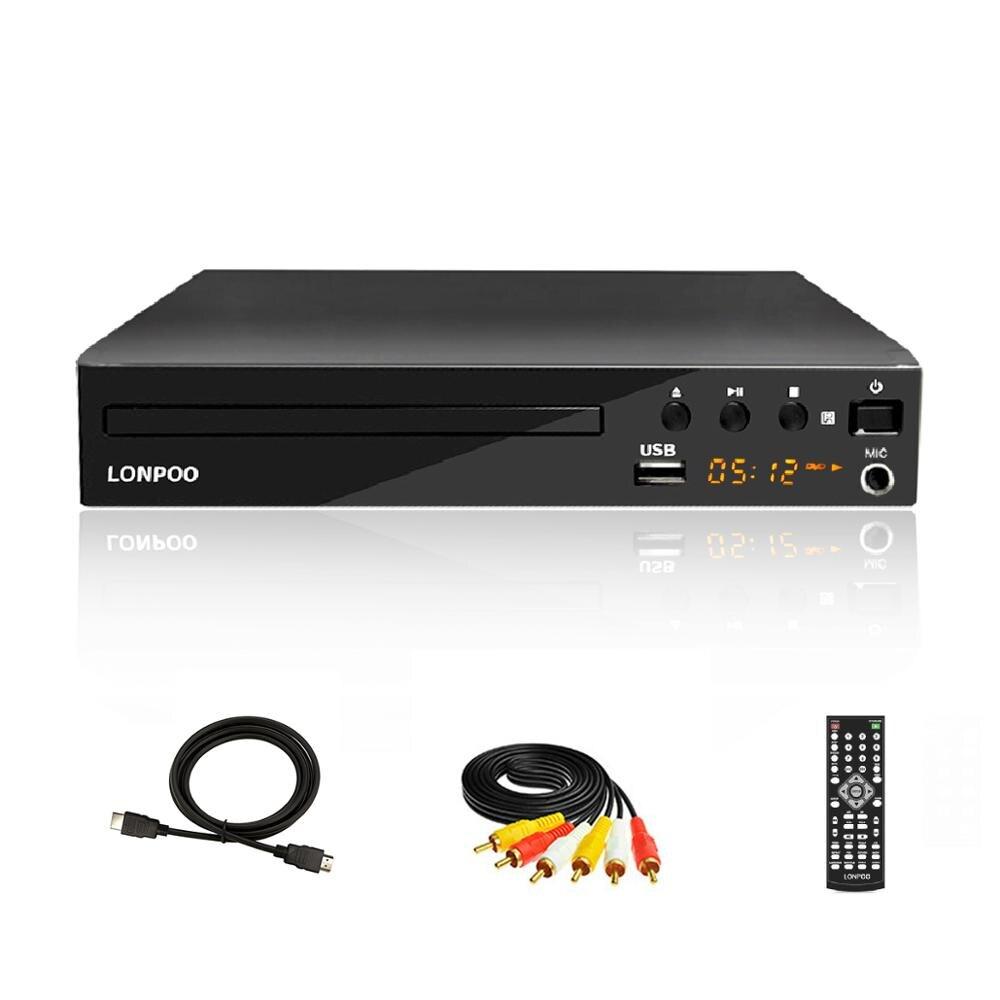 Lonpoo mini usb rca hdmi reprodutor de dvd região livre múltiplas línguas osd divx dvd cd rw player led display player dvd mp3