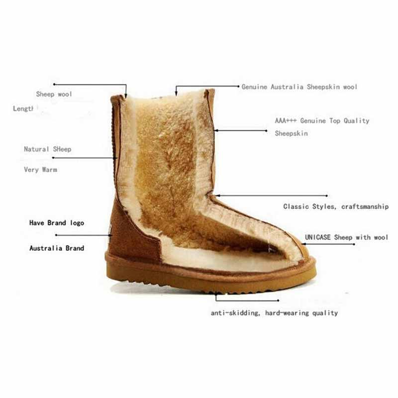 Sponge Mice Classic Genuine Cowhide Leather Snow Boots 100% Wool Women Boots Warm Winter Shoes For Women Large Size 34-44