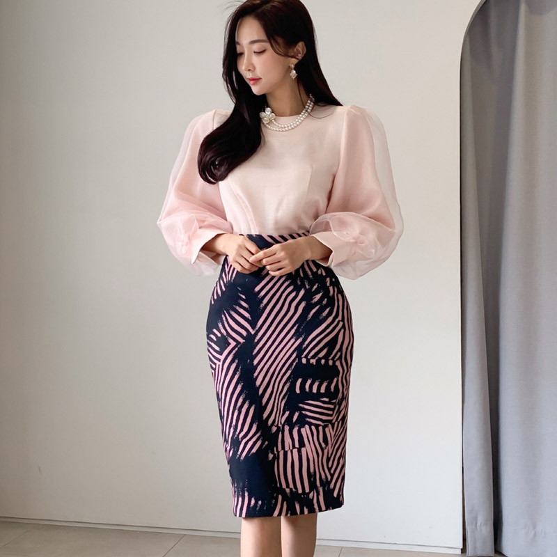 Woman Sets Two Pieces Office Lady Shion Spring Top Shirt Bodycon Pencil Skirt Knee-Length Eleagnt Slim Suit Sets