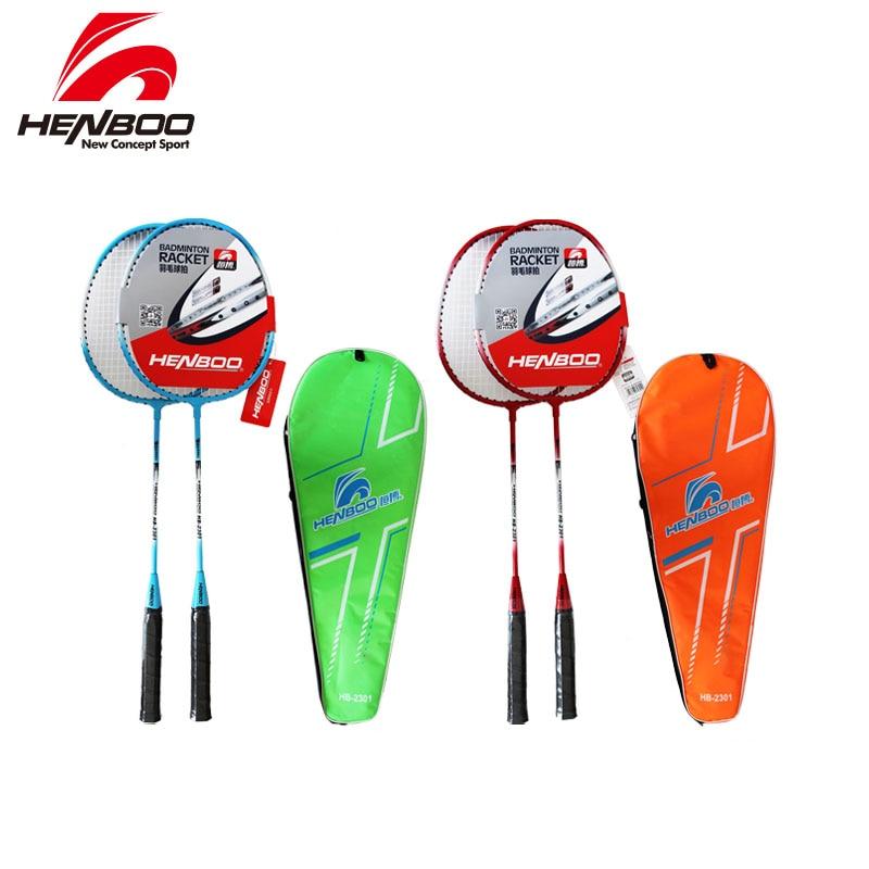 HENBOO Professional Badminton Racket Set Family Double Badminton Racket Titanium Alloy Lightest Durable Standard Badminton 2301