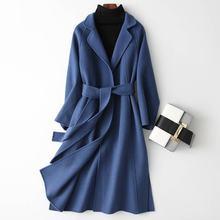2020 New Autumn Winter Women Cashmere Slim Belt Wool Blend L