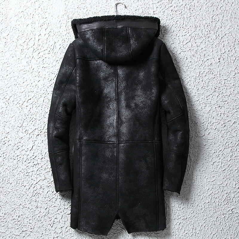 Genuine Leather Jacket Men Winter Real Fur Coat Men Hooded Shearling Jacket Sheepskin Leather Coats Long WpJM1005 KJ3805