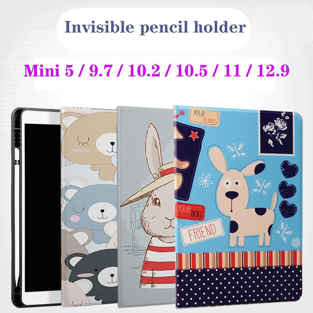 With Pencil Holder Case For iPad 5th 6th 9.7 7th 10.2'' 10.5 Mini 5 Pro 11 12.9 inch Case 2020 UV Silicone Smart Cover Wake Funda