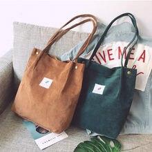 Sacs pour femmes 2021 velours côtelé sac à bandoulière réutilisable sacs à provisions décontracté fourre-tout femme sac à main pour un Certain nombre de livraison directe