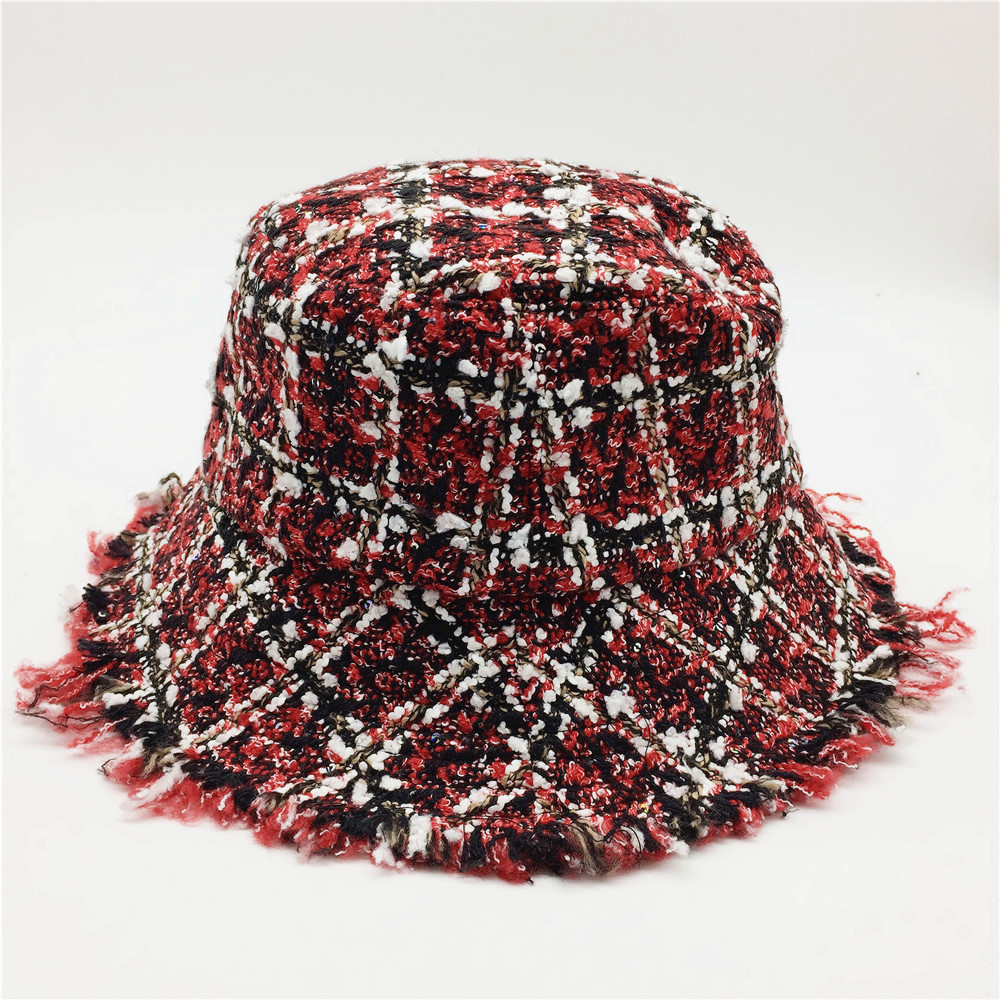 Women Plaid Tweed Bucket Hat With Mini Sequins Ladies Girls Black And Red Checks Hats With Raw Edges Female Warm Winter Hats