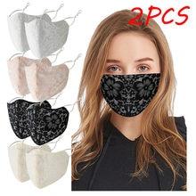 2 шт для взрослых моющиеся Цветочные Кружевные маски со ртом для лица элегантные Дышащие Регулируемые пылезащитные маски для лица велосипе...